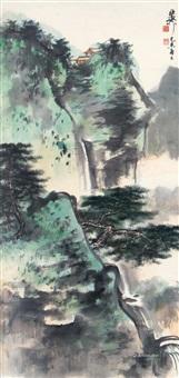 山水 镜框 设色纸本 by xie zhiliu
