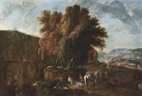 a rocky river landscape with travellers and their horses in the foreground by pieter van bloemen