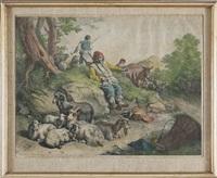 scena pastorale con contadino seduto e due pastori con armenti by francesco londonio