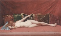 femme nue allongée by edmond georges grandjean
