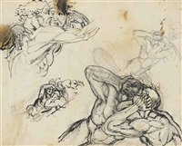 four studies of frightened figures, possibly paolo and francesca by henry fuseli