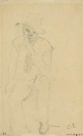 sitting peasant by camille pissarro