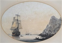 ships at anchor on the coast by samuel atkins