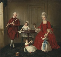 portrait of mr. and mrs. james blew and their three children in an elegant interior (collab. w/studio) by johann joseph zoffany