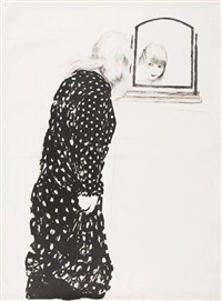 a lot more of anne combing her hair by david hockney