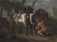 two figures shoeing horses in a wooded landscape, an encampment beyond by pieter van bloemen