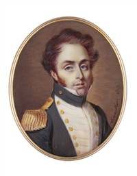 a young naval captain in uniform with white facings by johannes baptista van acker