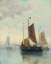 fishing boats on a quiet day by jacob willem gruyter