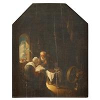 elderly couple in interior by gerrit dou