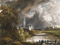 alisbury cathedral from the meadows by john constable