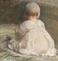 a little girl sitting with back turned by julius paulsen
