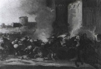 a battle on the outskirts of a fortified italian town by simonini