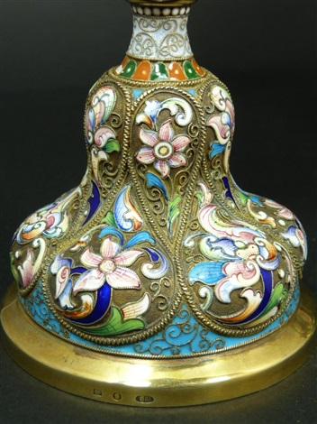pair of russian enameled silver lidded urns