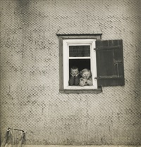 children at a window in switzerland, 1939; london evacuee children billitted at wilton house, 1939 (2 works) by cecil beaton