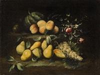 stillleben mit birnen, pfirsichen, melone, trauben und rosen by anonymous-italian (17)