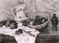 stilleben mti fruchten, krug und obstschale by rené blattler