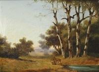 landschaft mit rehrudel auf einer lichtung by ignaz raffalt