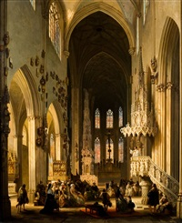 intérieur de l'église by jules victor genisson
