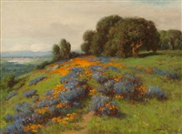 california poppies and lupine, foothills of sierras, with glimpse of sacramento valley by william franklin jackson
