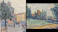 castello del valentino; mercatino in piazza carlina (2 works) by piero nada