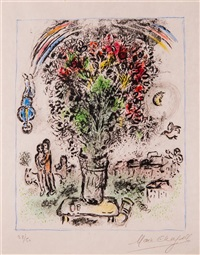 bouquet with rainbow by marc chagall