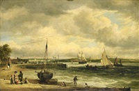 a view of topsham, belvedere in the distance by elias childe