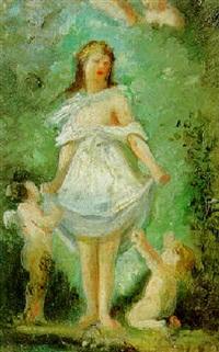 jeune femme et amours by joseph-benoit guichard