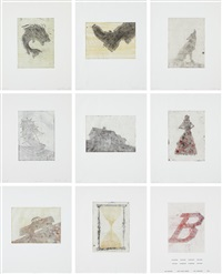flipping, kicking, howling, rolling, sitting, standing, climbing, telling; and b (9 works) by ed ruscha