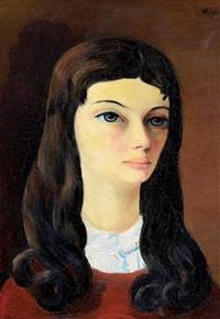 brune aux cheveux longs by moïse kisling