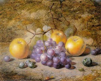 still life with apples and grapes by charles archer