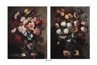 tulips, bluebells, daffodils and other flowers in a basket on a stone ledge and chrysanthemums, tulips, roses and other flowers in a basket (pair) by juan de arellano
