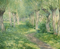 shifting shadows, giverny landscape with willow trees near a river by guy rose