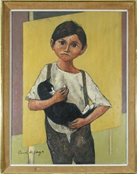 young boy and his cat by pascal de souza