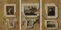 a trompe l'oeil still life with a painting of saint francis of assisi pinned to a wall (+ 2 others; set of 3) by antonio cioci