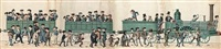 engineers before a train (2 works on 4 & 2 sheets) by leopold oberlun