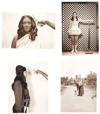 the ethnographic series from the project native women of south india manners customs 45 works by pushpamala n