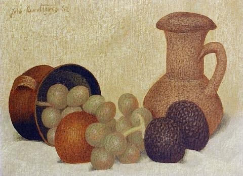 still life with vase and fruit by john armstrong