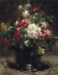 red, white and pink roses by georges jeannin