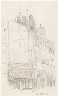 untitled (row of houses with firewall) by lyonel feininger