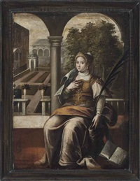 a female saint seated in a classical courtyard by domenico tintoretto