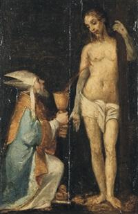 papst gregor der große empfängt in einem kelch das blut aus der wunde christi by romanino (girolamo romani)