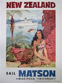 new zealand matson line poster by louis macouillard