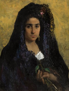 dama con mantilla by joaquín agrasot y juan