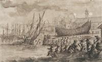 scène de chantier naval, le calfatage by reinier nooms