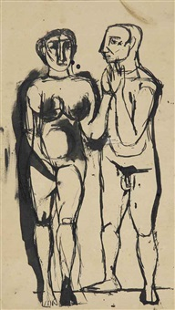untitled (two figures) by tyeb mehta