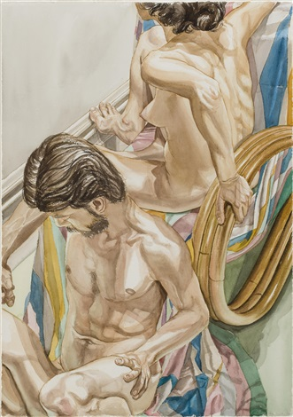 male and female models with bamboo chair and diamond printed throw by philip pearlstein