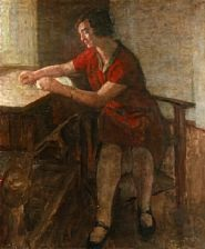 a lady in a red dress absorbed reading her book by julius paulsen