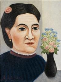 portrait de femme au bouquet de fleurs by henri rousseau