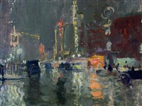 new york on a rainy night by charles hoffbauer