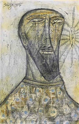 untitled (portrait of a man) by francis newton souza